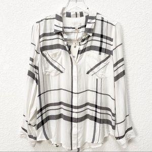 Lucky Brand • White Plaid Button Up Shirt
